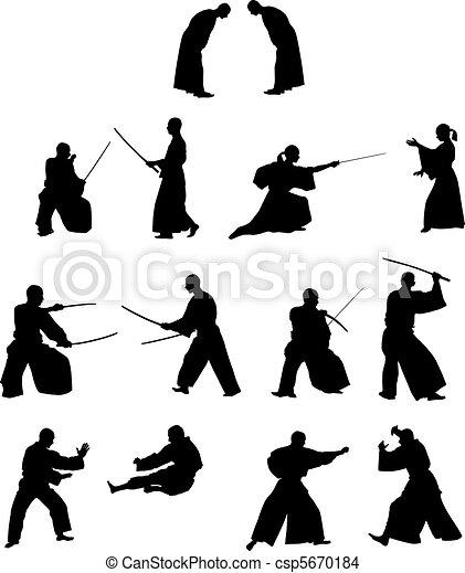 Many silhouettes of samurai combat - csp5670184