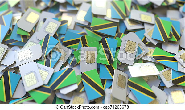 Many SIM cards with flag of Tanzania. Tanzanian mobile telecommunications related 3D rendering - csp71265678