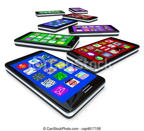 Many Smart Phones with Apps on Touch Screens - csp4617158