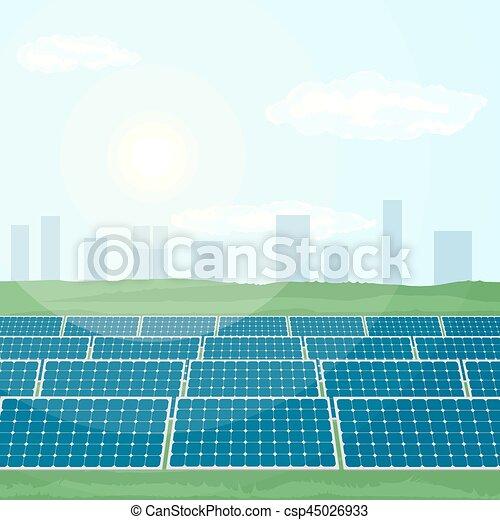 Many solar panels produce renewable energy from sun. - csp45026933