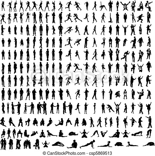 Many very detailed silhouettes including business, dancers, yoga etc. - csp5869513