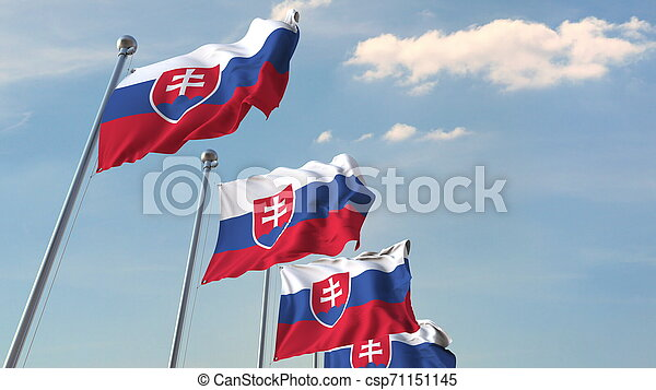 Many waving flags of Slovakia. 3D rendering - csp71151145