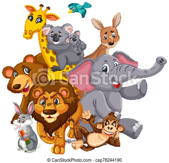 Many wild animals with happy face on white background - csp78244190