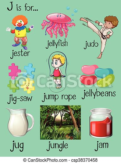 Many words begin with letter j illustration clipart vector