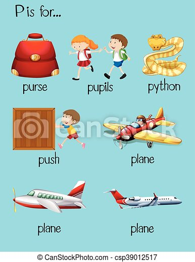 many words begin with letter o stock vector many words begin with letter p illustration 308