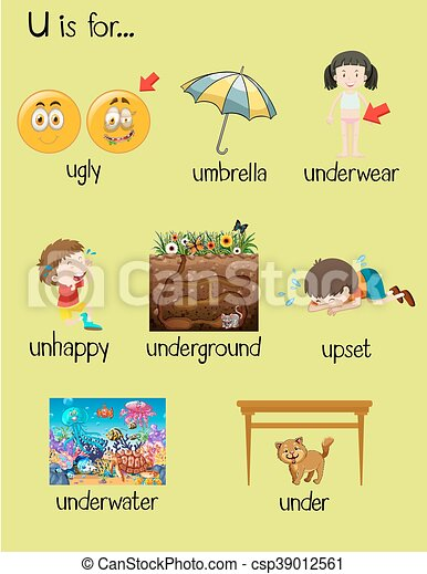 many words begin with letter o stock vector many words begin with letter u illustration 308