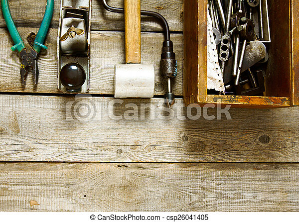 Many working tools on a wooden background. - csp26041405