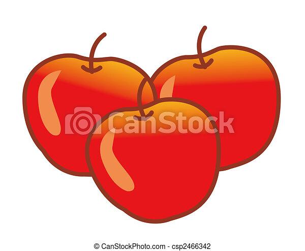 Clip art de manzana  ilustracin dibujo de tres manzanas