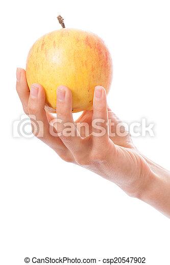 Manzana en mano femenina - csp20547902