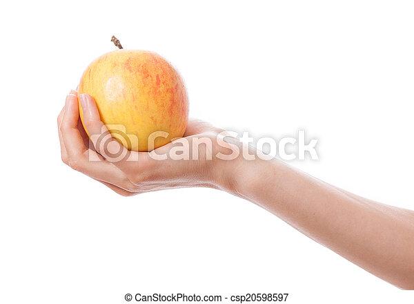 Manzana en mano femenina - csp20598597