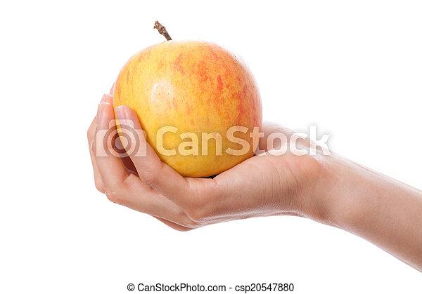Manzana en mano femenina - csp20547880