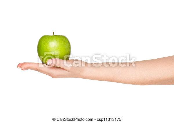 Mano con manzana - csp11313175