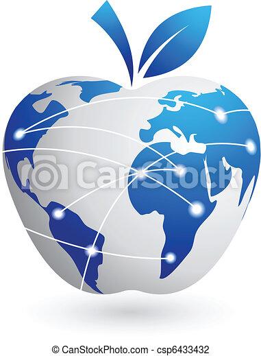 manzana, resumen, global, -, aldea, tecnología - csp6433432