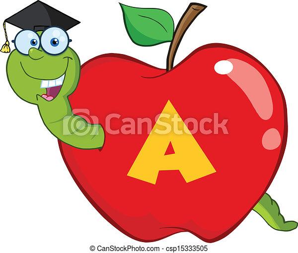 manzana, rojo, gusano - csp15333505