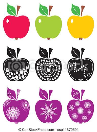 Color, resumen, aislado, manzanas, plano de fondo, blanco.