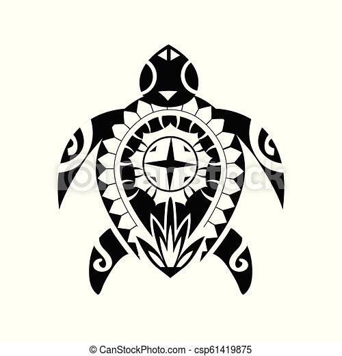 d43aa42792f59 Maori / Polynesian Turtle Tattoo Style Ornament - Ready For Print And Used  For Stencyl As Custom