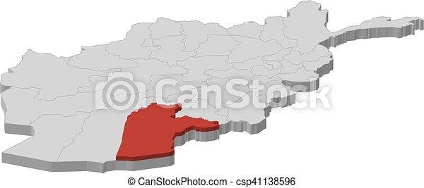 Map Afghanistan Kandahar 3d Illustration Map Of Afghanistan As