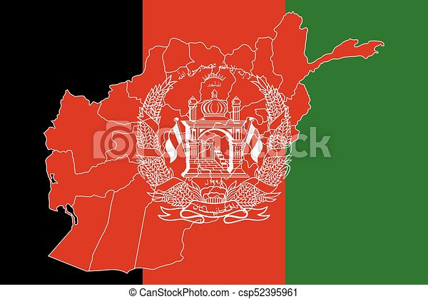 Map and flag of Afghanistan - csp52395961