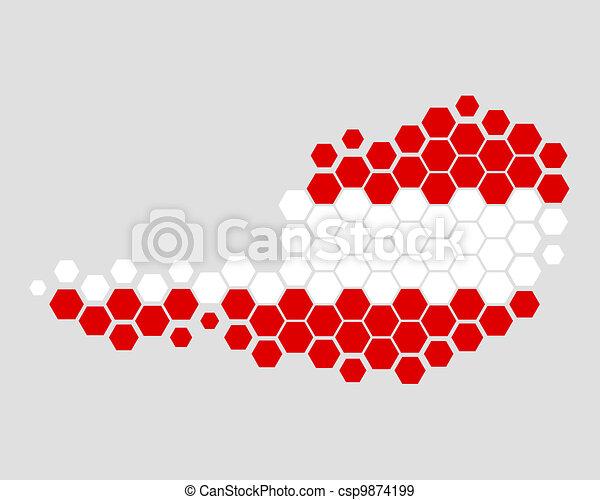 Map and flag of Austria - csp9874199