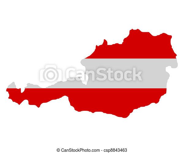 Map and flag of Austria - csp8843463