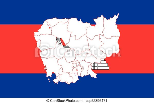 Map and flag of cambodia. vector illustration. world map.