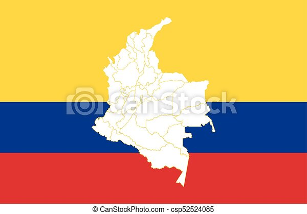 Map and flag of colombia. vector illustration. world map.