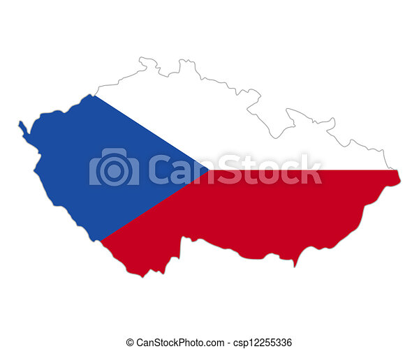 Map and flag of Czech Republic - csp12255336