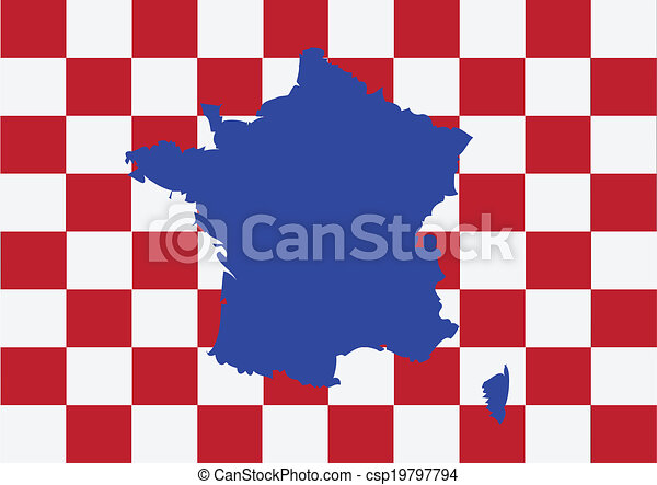 Map and flag of France , French Republic - csp19797794