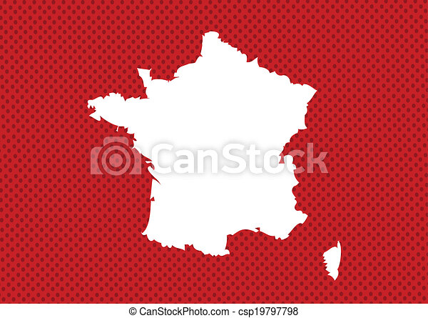 Map and flag of France , French Republic - csp19797798