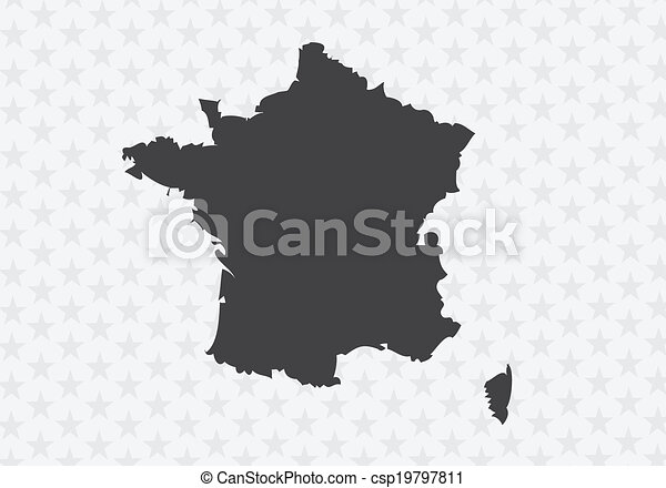Map and flag of France , French Republic - csp19797811