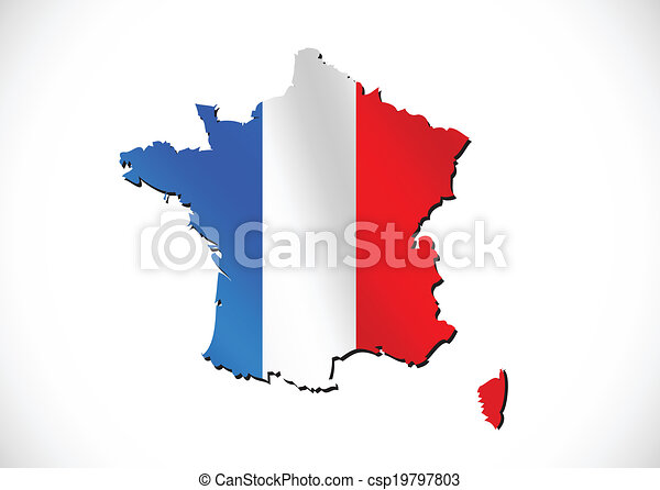 Map and flag of France , French Republic - csp19797803
