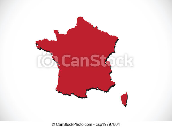 Map and flag of France , French Republic - csp19797804