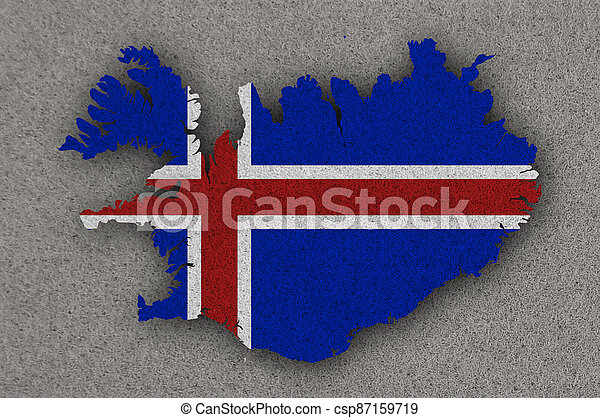 Map and flag of Iceland on felt - csp87159719