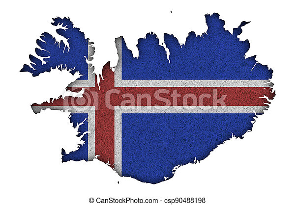 Map and flag of Iceland on felt - csp90488198