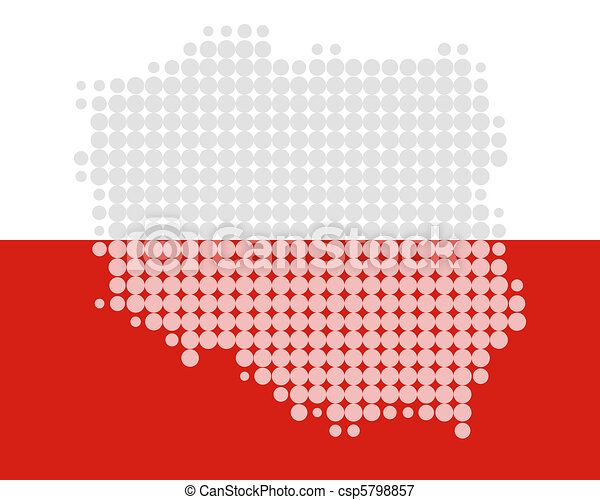 Map and flag of Poland - csp5798857