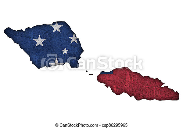 Map and flag of Samoa on weathered concrete - csp86295965