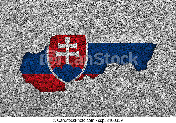 Map and flag of Slovakia on poppy seeds - csp52160359