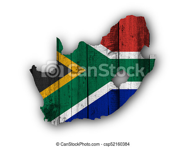 Map and flag of South Africa on weathered wood - csp52160384
