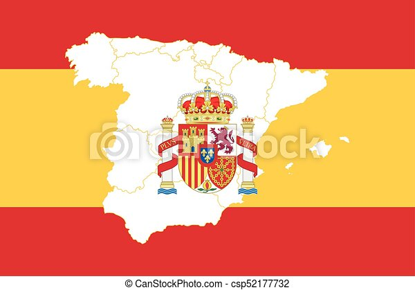 Spain Map Flag.Map And Flag Of Spain