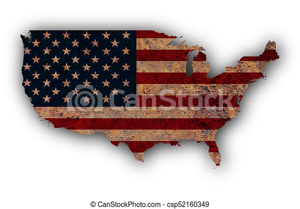 Map and flag of the USA on rusty metal - csp52160349