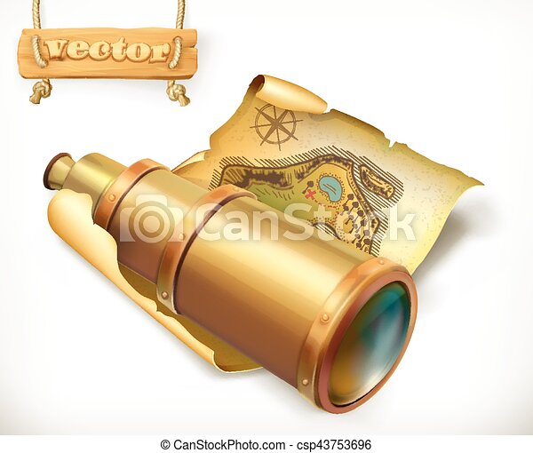 Map and spyglass. Adventure 3d vector icon - csp43753696