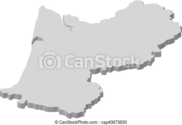 Map Aquitaine France 3d Illustration Map Of Aquitaine A