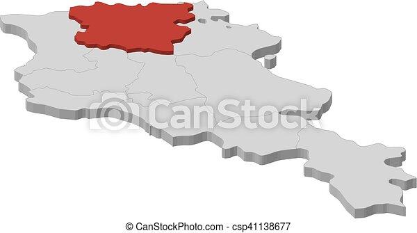 Map armenia lori 3dillustration Map of armenia as a