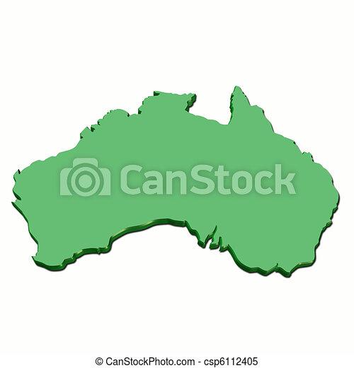 Free 3d Map Of Australia.Map Australia 3d Green