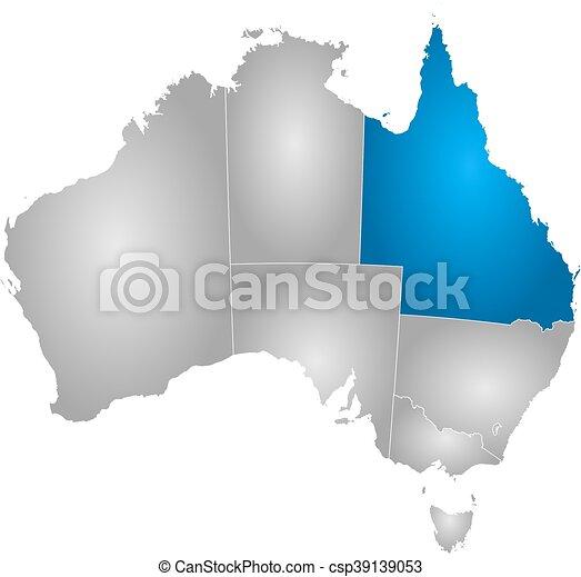 Map Of Australia Highlighting Queensland.Map Australia Queensland