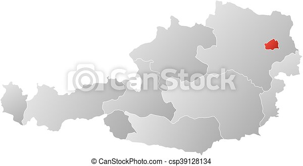 Map austria vienna map of austria with the provinces filled map austria vienna csp39128134 gumiabroncs Choice Image