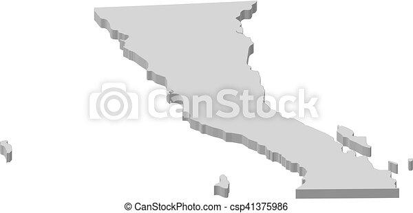 Map baja california mexico 3dillustration Map of vector