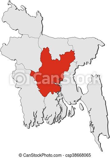 Map bangladesh dhaka map of bangladesh with the provinces dhaka map bangladesh dhaka csp38668065 gumiabroncs Image collections