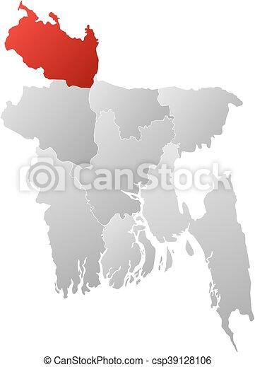 Map bangladesh rangpur Map of bangladesh with the vector