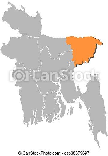 Map bangladesh sylhet map of bangladesh with the eps map bangladesh sylhet csp38673697 gumiabroncs Image collections